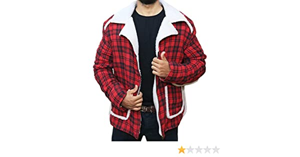 The Jasperz Dead Pool Ryan Reynolds Red Shearling Fur Jacket