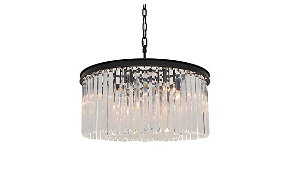 Lightupmyhome D'Angelo 8 Light Round Glass Crystal Chandelier, Black, Small