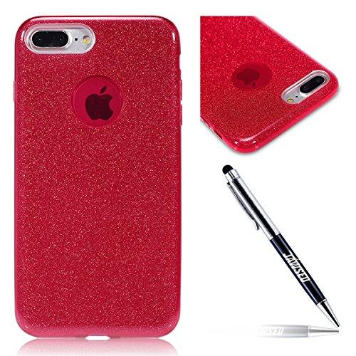 JAWSEU iPhone 7 Plus/8 Plus Custodia Cover Silicone TPU [360 Gradi] 3 in 1 Protezione Completa Glitter Sparkle Bling RossaUltra Sottile Gel Morbida ...