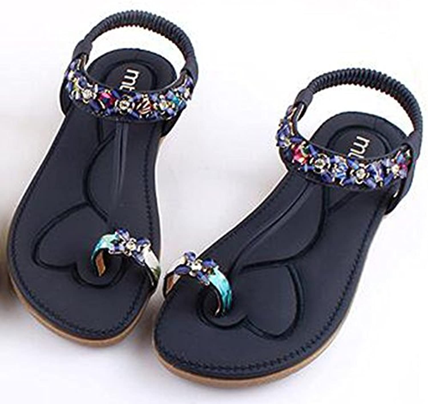 XIAOLIN Summer Soft Bottom Sexy Diamond Fashion Set Sandalias de pie Cómodo Beach Retro Sandalias de los zapatos...