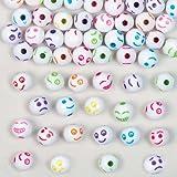 """Bunte Bastelperlen """"Lustige Gesichter"""" für Kinder zum kreativen Gestalten von Armbändern und Halsketten – Schmuck-Bastelset für Kinder (300 Stück)"""