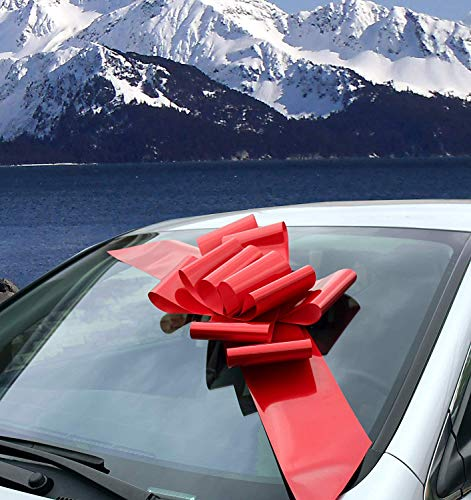 GiftWrap Etc. Big Red Car Bow Ribbon - Große Geschenkdekoration, komplett montiert, 25