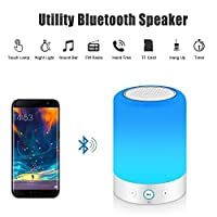 MRCOOL Touch Bedside Lamp with Bluetooth Speaker, Dimmable Warm White Table Lamp & RGB Colour Changing LED Speaker Mood Light, Best Gift for Women Men Teens Children Kids Night Light by Shenzhen Quanhan Tech., Ltd