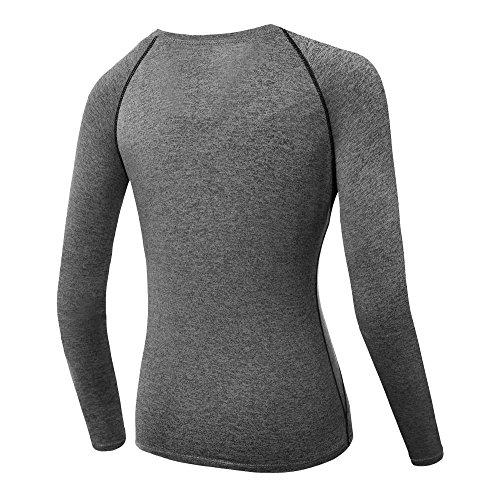 ESHOO Femmes Top de Sport a Manches Longue T-shirt de Compression Gym Quick-Dry Yoga Course Tops Gris