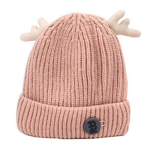 YL Herbst Und Winter Kinder Wolle Hut, Männer Und Frauen Baby Stricken Hut Outing Ohrenschützer Hut (Farbe : Pink) -