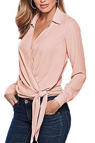 Damen Langarm V-Ausschnitt Bluse Büro Tops Pink