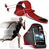 (rot + Ohr Telefon 154 x 74) BBLU Vivo 6 Fall Spannbettlaken Sports Armbinden Running Bike Radfahren Fitnessstudio Joggen befreit Arm Band Case Cover mit Case in Ear Buds Stereo-Hände Kopfhörer Headset Mikrofon und On-Off-Button Ausgestattet von i-tronixs