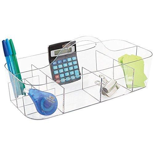 mDesign Büromaterial-/Schreibtisch-Organizer für Schere, Stifte, Bleistifte, Textmarker, Notizblöcke, Klebeband - Groß, Durchsichtig