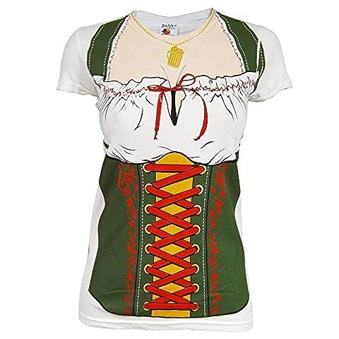 Frauen Oktoberfest Fräulein Beer Festival Kostüm -T-Shirt Weiß M Weiß