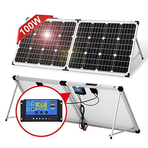 DOKIO Klappbares Solarpanel 100w mit Solar-Laderegler (PWM-Lademodus, 2 USB-Ports)für 12/24-V-Akkus, Inklusive Transporttasche Camping Solar