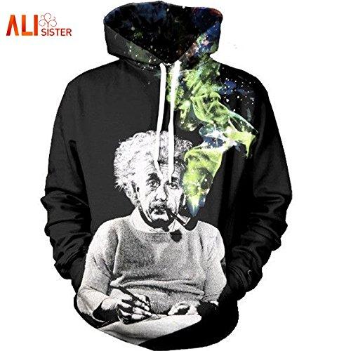XIAOBOFYK Harajuku Stil 3D-Hoodie Einstein Rauchen Drucken Hoodies lustig Paar Sweatshirts Damen Herren Casual Pullover Tops Dropship, M