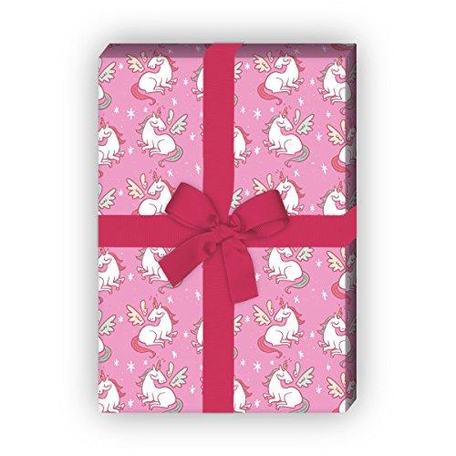 Mädchen Geschenkpapier mit geflügeltem Einhorn für tolle Geschenk Verpackung und Überraschungen 32 x 48cm, Dekorpapier, Papier zum Einpacken, auf rosa