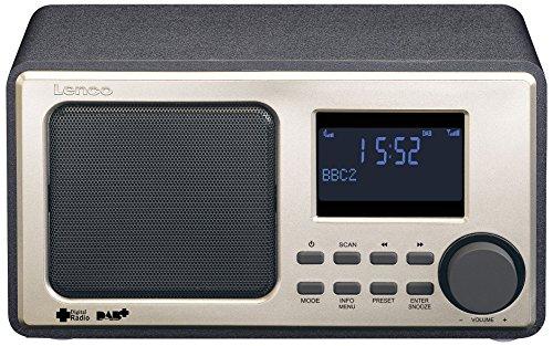 Lenco Digitalradio DAR-010 mit DAB+ und UKW Tuner (Senderspeicher, 2 Weckzeiten, Holzgehäuse, Kopfhörer-Anschluss), Schwarz