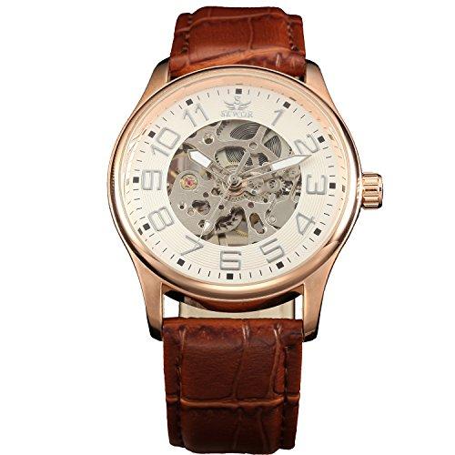 Sewor Rose Gold Mens Mechanical Hand Wind Skeleton Transparent Wrist Watch (Rose Gold)