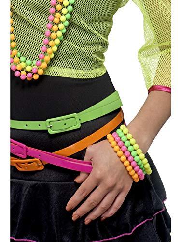 Accessoires Zubehör 80er Jahre Damen Frauen Neon Perlen Armbänder, perfekt für Karneval, Fasching und Fastnacht, Mehrfarbig ()