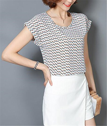 Gogofuture Moda Donne T-Shirt Estate Stampato Casual Maglietta Maniche Corte Shirt Tops Classico Multicolore Colorful8