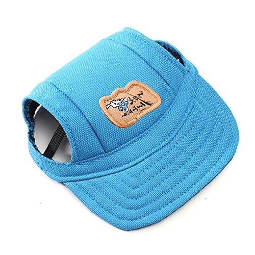 Forepin® Haustiere Zubehör Hundecap Hüte Baseball Mütze Kappe mit Ohr Löcher für Kleine Hunde Blau S (Gestreifte Kätzchen)