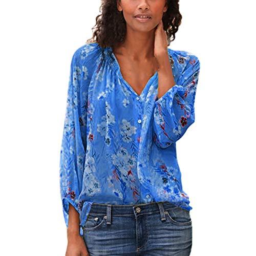 MOTOCO Damen Langarm Hemd Drucken V-Ausschnitt LoseButton Top Bluse(5XL,Blau) -