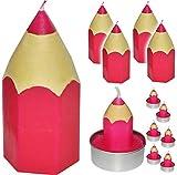 alles-meine.de GmbH 11 TLG. Set _ Kerzen -  bunter Stift - PINK / ROSA  - große Kerze + Teelichter - Tischkerze - Tischdeko / Schuleinführung / Geburtstagskerzen - Stifte - Sch..
