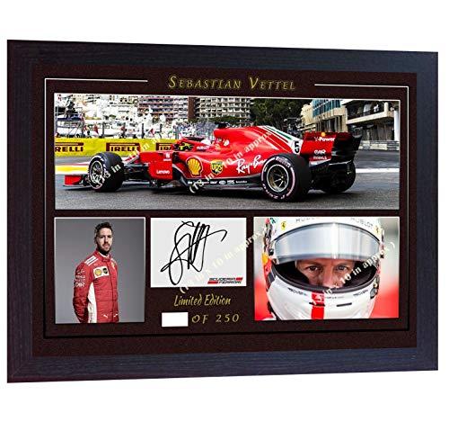 SGH SERVICES encadrée Sebastian Vettel Ferrari Formula 1Grand Prix dédicacée Souvenirs Cadre en Panneau MDF # 7