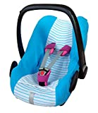 ByBoom - Universal Sommerbezug, Schonbezug aus Frottee mit Streifen für Babyschale, Autositz, z.B. Maxi Cosi Cabrio Fix, City, Pebble; Designed in Germany, MADE IN EU, Farbe:Blau/Streifen-Blau