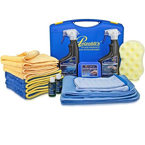 Petzoldt's Spezial Unterwegs-Reinigungs-Set mit Reinigungsknete, Glanz-Pflege und Kfz-Glasreiniger Spray, Glanz-Shampoo, Waschschwamm, Microfasertücher und Fahrzeugpflege-Koffer