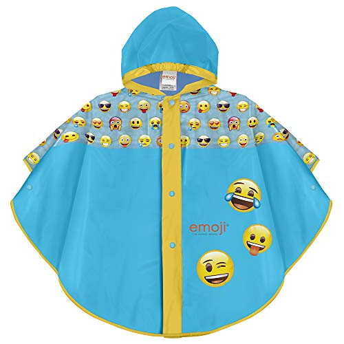 PERLETTI Emoji Smiles Waterproof Cape for Children - Light Blue Whatsapp Emoji Rainproof Poncho with Yellow Edges with Hood and Buttons - 2 Size