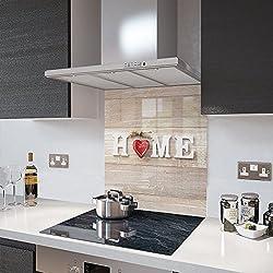 Premier Range - Home and Red Heart - Glass Splashback - 60cm Wide x 75cm High