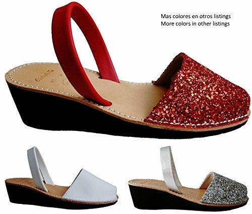 Menorquinas Avarcas. Plate-forme / coin 4.8cm. glitter, avarcas menorquínas. Glitter multicolor