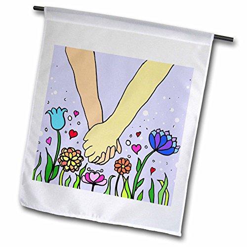 Day Foto Geschenke Valentines (3drose FL _ 113045_ 1handholding cartoon-romantic, hands-anniversary Valentines Day Lover Partner Paare Geschenk Garden Flagge, 12von 18)