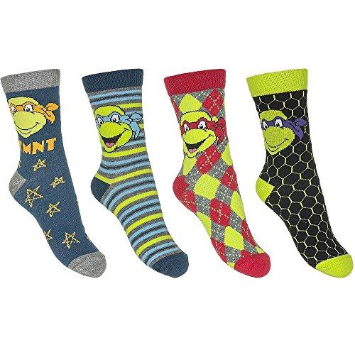 4er Set Ninja Turtles Kinder Socken Strümpfe für Jungen Größe 23-34 wählbar (Ninja Turtles Socken)