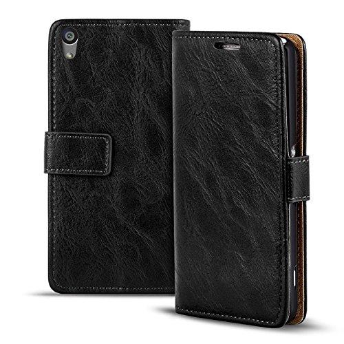 Verco Xperia M4 Aqua Hülle, Premium Handy Schutzhülle für Sony Xperia M4 Aqua Hülle PU Leder Wallet Tasche Retro Flipcase, Schwarz