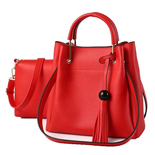 Frauen Arbeiten Ranzen Handtaschen Mit Geldbörse Mit Mehreren Taschen Red