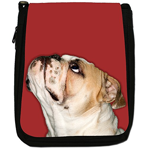 Close Up Di Bulldog Looking Up Medium Nero Borsa In Tela, taglia M Red Bulldog Looking Up