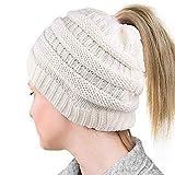 Custyle Damen Mütze Pferdeschwanz Messy Bun Beanie Tail Multicolor Gerippte Mütze (Weiß)