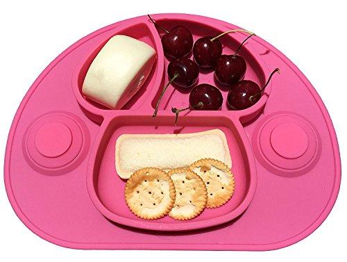 Aspiration Forte Set de table en silicone — assiette bébé ventouse — Enfant Assiettes – Nourrit Bébé Plateau à Compartiments Divisés non cassable, Nettoyer facile(rose)