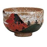 Kutani Keramik (Grüner Tee aus Japan) Matcha, Kaffee, Tee Schüssel Rote Berg Fuji Fujiyama Mt.Fuji K4-833 aus Japan