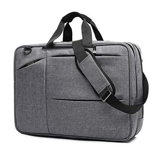 CoolBell 17,3 Zoll umwandelbar Aktentasche Rucksack Messenger Bag Umhängetasche Business Briefcase Mehrzweck Travel Backpack Notebook Schultertasche Laptop Tasche für Laptop/MacBook/Herren(Grau) -