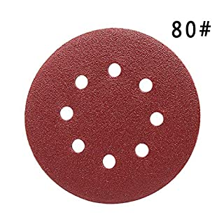 Maveek 50 Pieces 8 Holes Sanding Discs 80 Grit 5 inch Hook and Loop Sandpaper Assortment for Random Orbital Sander