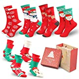 WOSTOO 8 Pairs Christmas Socks, Mix Design Woman Girl Children Festive Fun Christmas Novelty Cotton Socks Christmas Socks Christmas Stockings