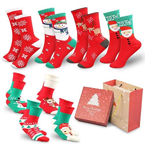 WOSTOO 8 Pairs Christmas Socks, Mix Design Woman Girl Children Festive Fun Christmas Novelty Cotton Socks Christmas Socks Christmas Stockings