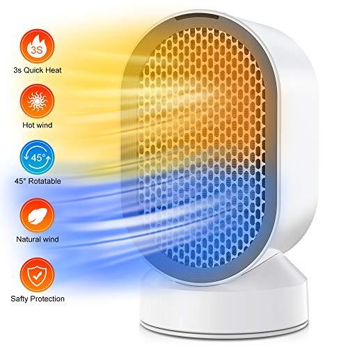 Termoventilatore elettrico,termoventilatore ceramico con termostato regolabile,funzione doppia aria calda e naturale termoventilatore basso consumo con protenzione anti-surriscaldamento