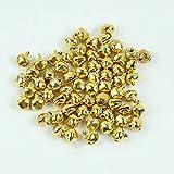dealglad® Kleine Glöckchen für Weihnachten, Hochzeit, Dekoration, als Perlenschmuck, 100 Stück, metall, gold, 8 mm