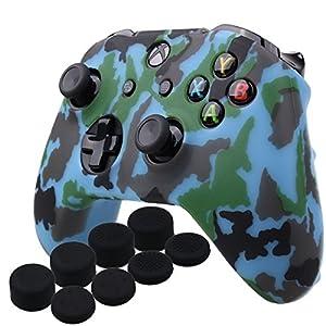 YoRHa Wassertransferdruck Silikon Hülle Abdeckungs Haut Kasten für Microsoft Xbox One X & Xbox One S controller x 1 (Marine) Mit PRO aufsätze thumb grips x 8