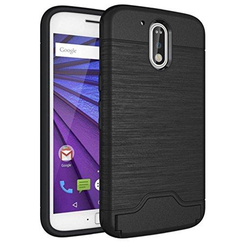 Moto G4 Custodia , Moto G4 Plus Cover , ivencase Nero Durevole [Shockproof] [Extra Grip] Ibrido Case con [Card Slot & Holder] Stand Protettiva Cover Perfetta per Motorola Moto G4 /G4 Plus 5.5