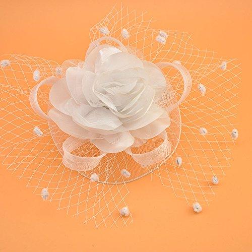 Dot Mesh Große Blume Mit Haarspange Vintage Stirn Kleinen Hut Kinder & Frauen Kopfschmuck Kurze Haare Zubehör,White ()