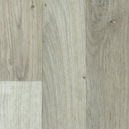 PVC-Bodenbelag Landhausoptik & Holzoptik Hellgrau | Muster | Vinylboden versch. Längen & Breiten | Fußbodenheizung geeignet e PVC Planken | Stark strapazierfähiger Fußboden-Belag