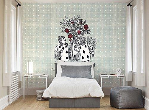 Ohpopsi Alice nel paese delle meraviglie - Adesivo da parete In tessuto, mod. La colorazione delle rose