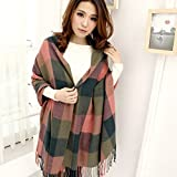 Ziory Red and Green 190cm*60cm Winter Neck Scarf Warm Soft Scarves Plaid Tassels Shawl Stole for Girls and Women