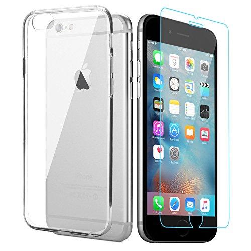 iPhone 6s 6 Hülle + iPhone 6s 6 Panzerglas, APICI 1 x Transparent Ultra Slim TPU Case Schutzhülle und 1 x Gehärtetem Glas Schutzfolie für iPhone 6s 6